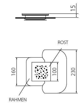 quadrat dusche abfluss 120 x 120 mm wp120 premium mistral modernedusche. Black Bedroom Furniture Sets. Home Design Ideas